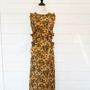 Vintage Style 1970s Prairie Maxi Dress Mustard